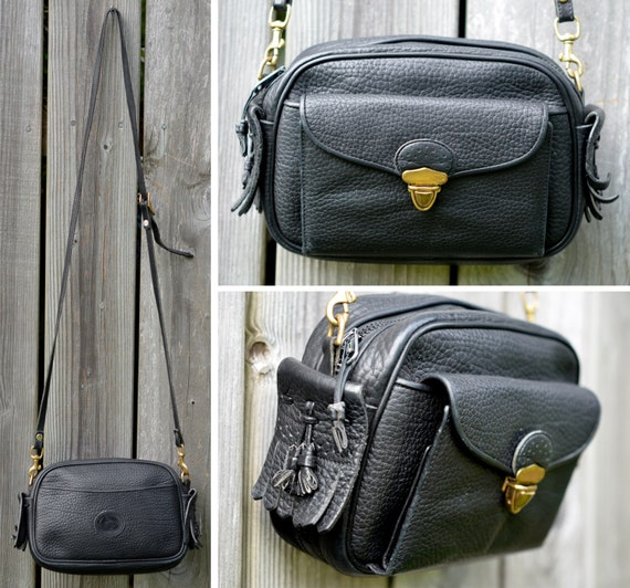 Vintage Dooney & Bourke Kilty Monochrome Black Leather Satchel Purse