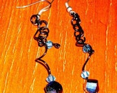 Starlight Swirls / coated copper and glass earrings by Crazy Chain