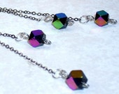 Disco Flash Silvertone Drops / glass and silver tone chain earrings by Crazy Chain