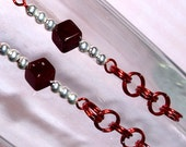 HOLIDAY JEWELRY SALE (Just Reduced) Red Dice and Chain Earrings