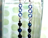 Triple Black and Blue heart on Blue Chain / Sterling Silver Earwire