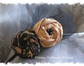 Bridal Party - Choose your Colors Flower Rosettes with Lace, Tulle, and Beads - Headband, Fascinator, Pin, Head Piece, or Clip