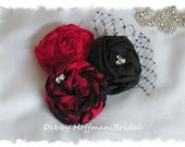 Flower Headband, Hair Clip, Red and Black Flower Rosettes with Lace, Netting and Rhinestones  - Headband, Fascinator, Hair Accessories