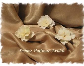 Ivory, Cream Velvet Hydrangea Bridal Flower Hair Pins, Bobby Pins with Pearl,  Set of 3 No. 303,  Bridal Flowers, Wedding Hair Accessories