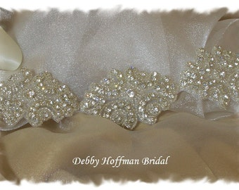 Bridal Sash, 15 Inch Rhinestone Crystal Wedding Dress Belt, Beaded Bridal Belt, Crystal Wedding Sash, Jeweled Belt, Wedding Belt, No. 1171S5