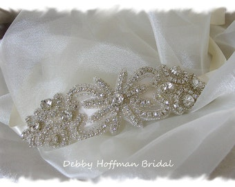 Rhinestone Headband, Crystal Headband, Crystal Beaded Rhinestone Bridal Ribbon Headband, Bridal Head Piece, No. 2041HB - Wedding Headband