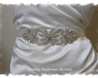 Bridal Sash, Rhinestone Bridal Belt, Crystal Wedding Sash, Jeweled Wedding Belt, Vintage Style Wedding Sash, Wedding Sashes Belts, No. 2041S