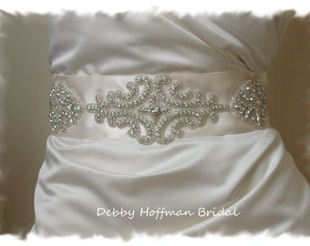 Vintage Style Wedding Sash, Rhinestone Crystal Bridal Sash, Jeweled Wedding Dress Belt, Wide Ribbon Wedding Sash, No. 1101S1171-2.25