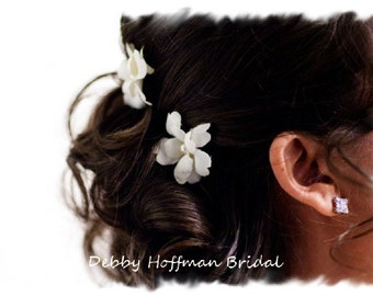 Ivory Flower Hair Pins, Cream Flower Bobby Pins, Set of 4, Floral Hair Pins, Floral Bobby Pins, Bridal Hair Flowers, Wedding Hair Flowers
