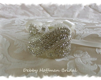 Rhinestone Crystal Bridal Cuff Bracelet, Rhinestone Wedding Cuff Bracelet, Wide Jeweled Bridal Bracelet, Bridesmaid Bracelet, No. 1191CB,