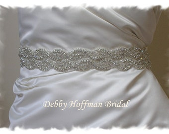 Bridal Belt, 28 inch Rhinestone Crystal Wedding Dress Sash, Wide Silver Wedding Sash, Jeweled Wedding Belt, Bridal Sash, No. 1126S2-28