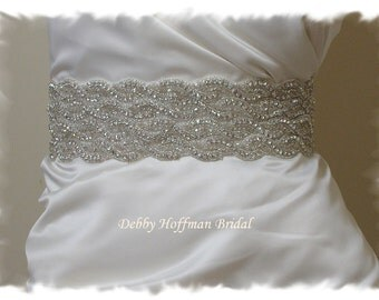 Wedding Dress Sash, Beaded Crystal Bridal Belt, Rhinestone Wedding Dress Belt, Wide Jeweled Bridal Sash, Rhinestone Belt, No 1126S4-18