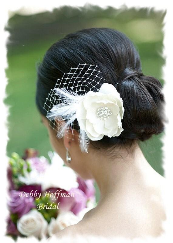 Bridal Hair Flower, Ivory Wedding Hair Flower, Bridal Hair Piece, Flower Hair Clip, Flower Hair Comb, Floral Wedding Headpiece, No. 202IFN