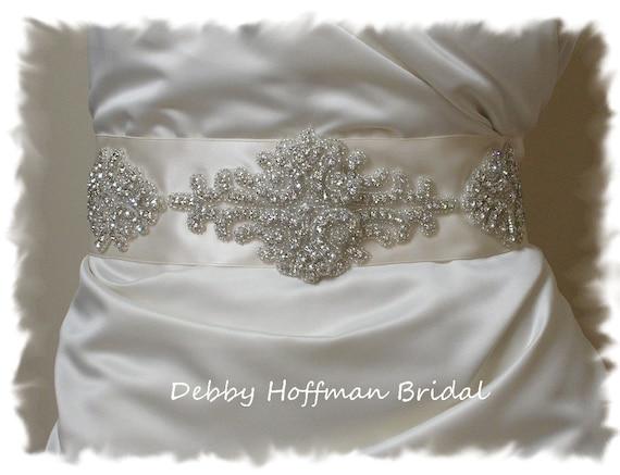 Rhinestone Bridal Sash, Beaded Rhinestone Crystal Bridal Belt, Jeweled Vintage Style Wedding Sash, No. 1101S1171-3, Wedding Belts and Sashes