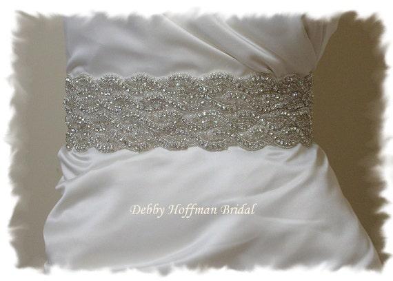 Wedding Dress Sash, Beaded Crystal Bridal Belt, Rhinestone Wedding Dress Belt, Wide Jeweled Bridal Sash, Rhinestone Belt, No 1126S4-18