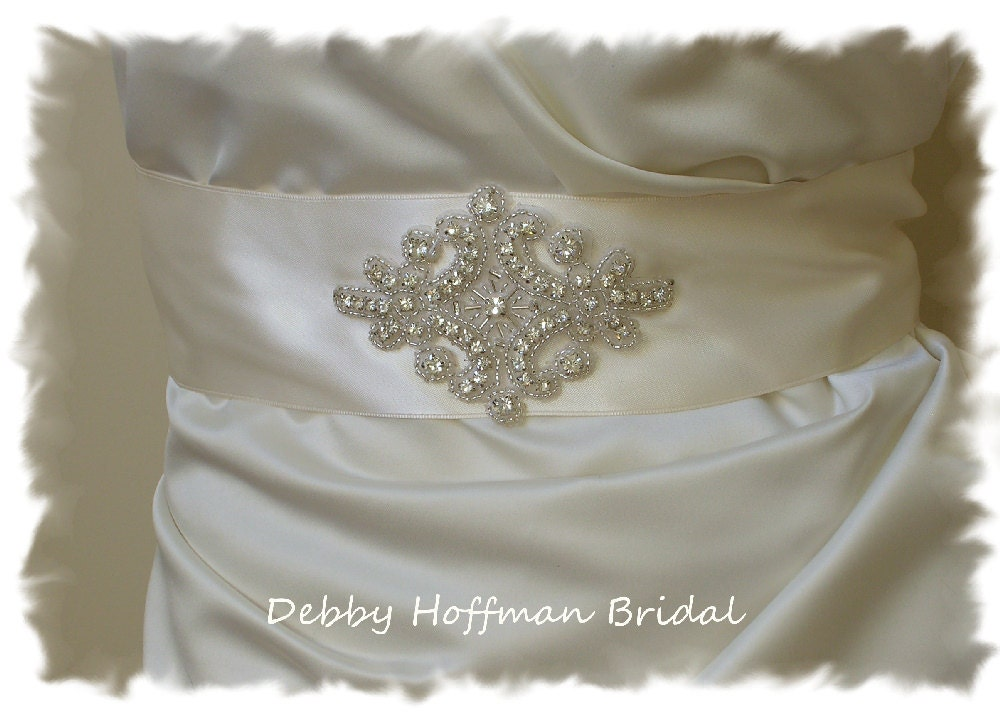 Unique Wedding Dress Sashes Belts: Crystal Bridal Sash Wide Wedding Dress Belt Rhinestone