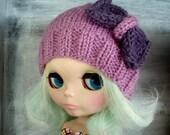 Blythe hand knit hat - purple