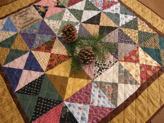 Rustic Scrap Quilt/Table Topper/Wall Hanging