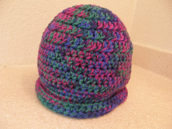 JEWEL TONES Crocheted Beanie with Rolled Brim