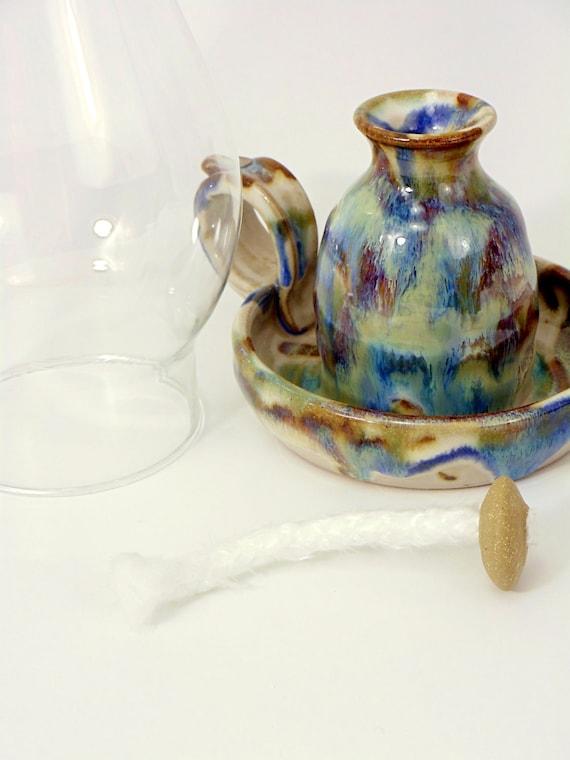 L 39 huile de lampe avec m che globe et fibre de par hertzpottery - Meche pour lampe a huile ...