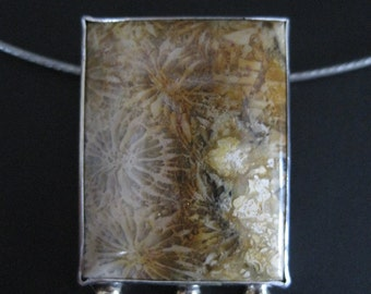 Petrified Coral Rectangle with Gold Balls