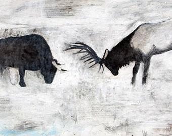 Bull and Elk - Art Print - Archival - 8x10, 11x14, 13x19