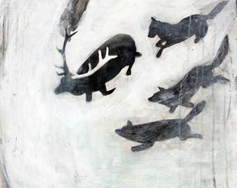 Tehillim 22 - Art Print - The Elk and the Wolves - 8x8, 10x10, 12x12, 13x13