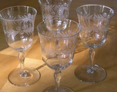 Set of 4 Etched Wine Glasses