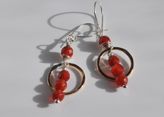 Carnelian and Gold Circle Wire Wrapped Earrings