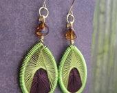 Chartreuse Threaded Teardrop Earrings