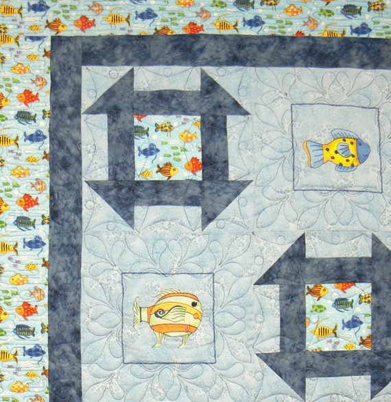 Cat's Meow Baby throw quilt with embroidery (AKA FISH)
