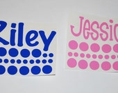 TWO Vinyl Names & Polka Dots - Yeti Tumbler Decals