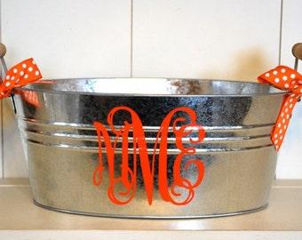 Galvanized Personalized Bucket - Monogram Bucket Oval