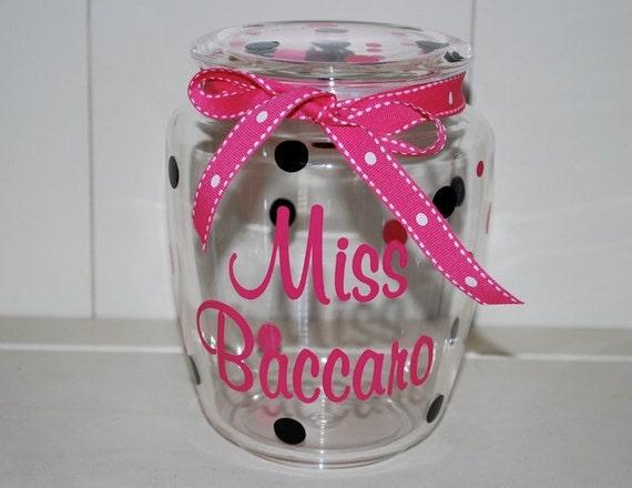 Teacher Gfit - Acrylic Candy Jar Personalized