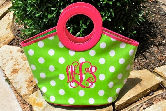 Personalized Cooler Tote  - Lime Green and Pink Bag with Polka Dots