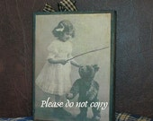 Antique vintage inspired wood block sign girl with teddy bear
