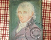 Antique style folk art painting 18th century PRIMITIVE