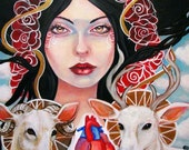 Nimue- goddess Celtic deer goat Avalon 5x7 art print