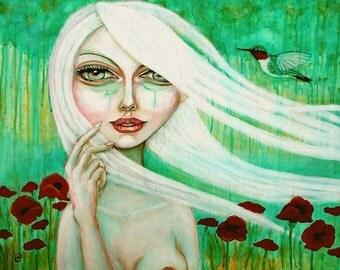 Pop Surreal white hair big eyed girl hummingbird 8x10 fine art print