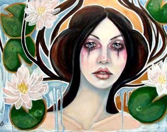 Gwragedd Annwn- fairy Wales Celtic water lillies 8x10 art print