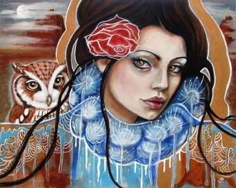 Leanan Sidhe- fairy Celtic mythological goddess owl 8x10 art print