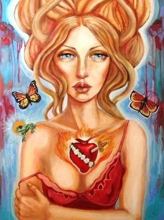 Psyche's Abandonment-goddess Greek mythology frog butterflies art print