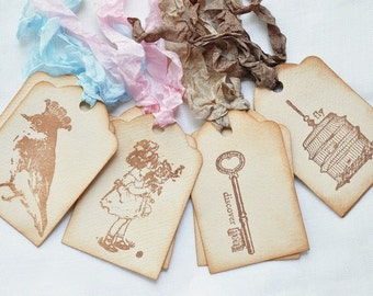 Vintage Inspired Tea Stained Gift Tags Assorted Shabby