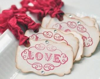 Love Vintage style Valentine gift tags