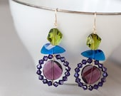 Purple Peacock - Earrings, crystal 14k goldfilled, wirewrapped