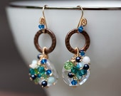 Beach Surf - etched copper, crystal earrings, blue crystals, green crystals