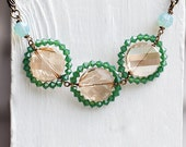 The Golden Age necklace, green crystal, vintage inspired, heavy chain, glittering, statement necklace