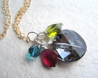 Aurora Borealis-pendant necklace, crystal, Argentium silver, 14k goldfilled chain