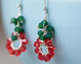 earrings flower pink sterling silver green leaves