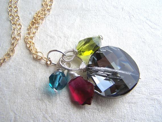 Aurora Borealis-pendant necklace, crystal, Argentium silver, 14k goldfilled chain